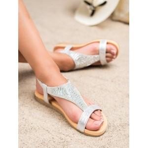 Elegantné dámske sandále v striebornej farbe s kamienkami