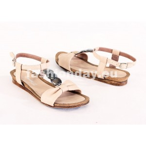 Dámske kožené sandále béžové DT075