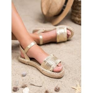 Štýlové dámske zlaté sandále na pletencovej platforme
