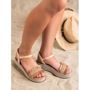 Tmavo béžové dámske sandále so strapcami a na platforme