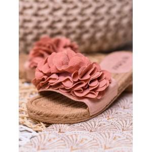 Romantické dámske šľapky ružové s pletencovou gumenou podrážkou