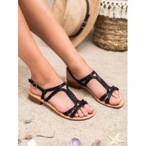 Čierne dámske sandále na nízkom opätku
