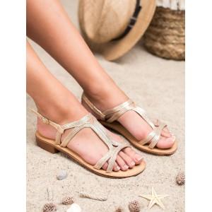 Pekné dámske zlaté sandály s asymetrickými pásmi