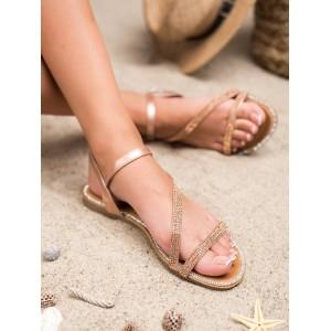 Ružovo zlaté dámske nízke sandále so zirkónmi a viazaním na remienok