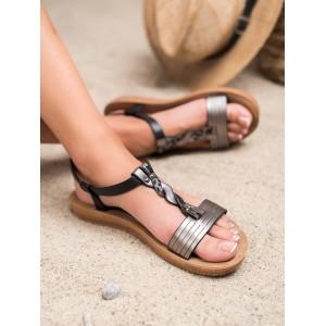 Štýlové dámske čierne sandále na platforme s ozdobným pletencom