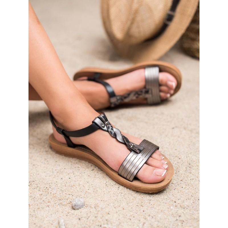 e9305b07df733 Štýlové dámske čierne sandále na platforme s ozdobným pletencom