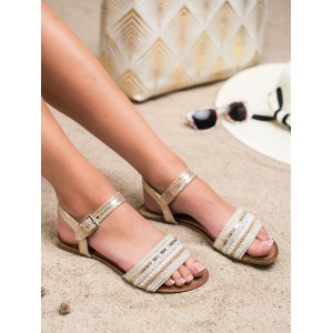 Letné dámske zlaté sandále s prepracovanou tkaninou s jemnými flitrami