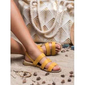 Letné dámske žlté sandále s pruhmi a pletencovým lemom na podrážke
