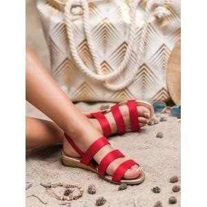 Červené dámske sandále s pletencom na podrážke