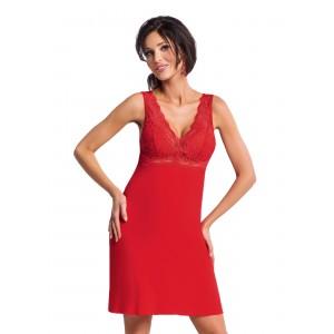 Štýlová dámska nočná košeľa v červenej farbe