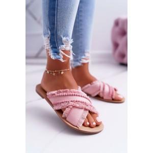 Trendy dámske ružové šľapky s ozdobnými guličkami a strapcami