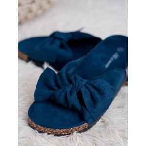 Krásne dámske semišové dreváky v modrej farbe s ozdobnou mašľou