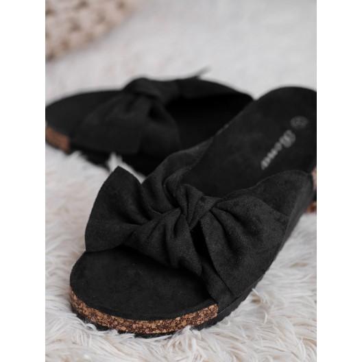 Semišové čierne dámske šľapky dreváky s módnou veľkou mašľou