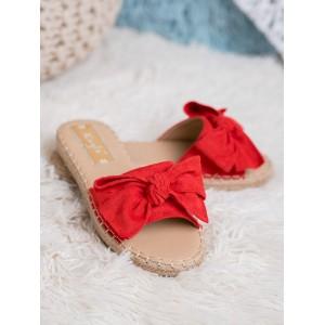 Trendy dámske červené šľapky espadrilky s mašľou
