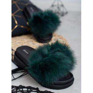 Smaragdovo zelené dámske kožušinové šľapky na čiernej podrážke