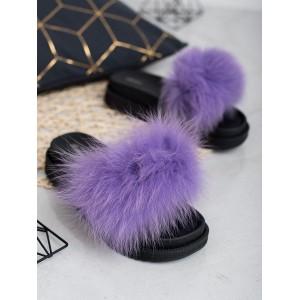 Štýlové dámske šľapky na platforme s módnou kožušinou fialovej farby