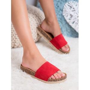 Štýlové dámske červené korkové šľapky s pletencom