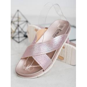 Letné dámske gumené šľapky v ružovo brokátovej farbe
