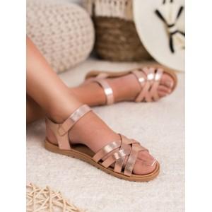 Dámske lesklé nízke ružové sandále s remienkom a pásmi