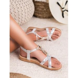 Elegantné dámske strieborné sandále s ozdobnou zlatou aplikáciou