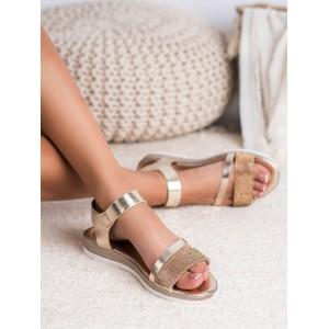 Zlaté dámske kamienkové sandále na platforme s viazaním na remienok
