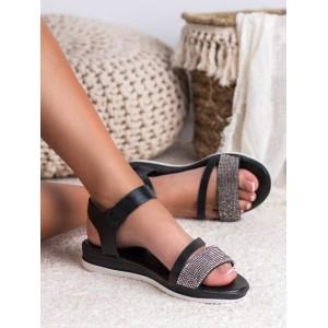 Moderné čierne dámske sandále na platforme so zirkónmi