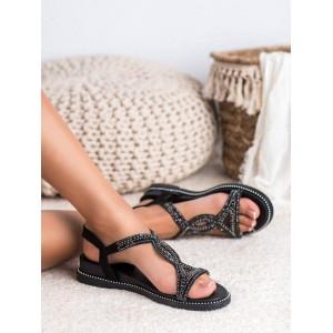 Čierne dámske sandále na platforme s kamienkami a ozdobým lemom