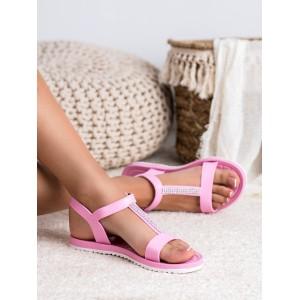 Krásne letné ružové dámske gumené sandále na pláž