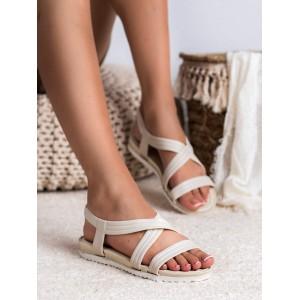 Trendy bielo béžové gumené dámske sandále k vode