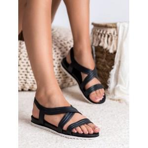 Pohodlné dámske čierne gumené sandále na bielo čiernej podrážke