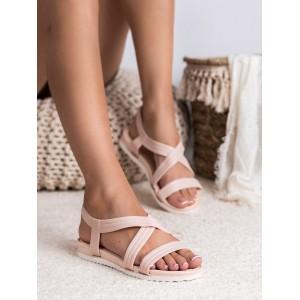 Púdrovo ružové gumené dámske sandále na pláž