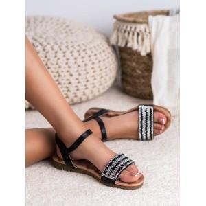 Štýlové dámske čierne sandále so zirkómni a zapínaním na remienok