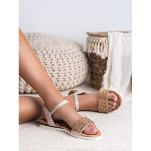 Zlato béžové dámske sandále so zirkónmi a zapínaním na remienok