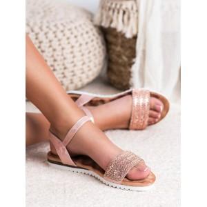 Štýlové dámske sandále nízke brokátovo ružové s kryštálikmi