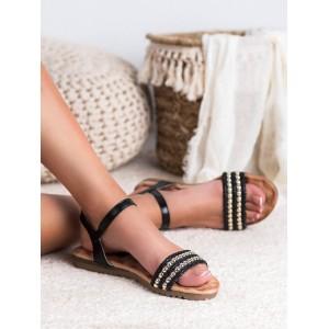 Čierno zlaté sandále so zapínaním na remienok