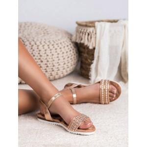 Zlaté dámske letné sandále so zapínaním na remienok