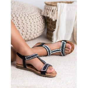 Originálne dámske nízke čierne sandále s trendy zirkónmi a perličkami
