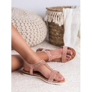 Elegantné dámske sandále v ružovej farbe s perličkami a zirkónmi