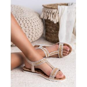 Dámske zlaté sandále zdobené kryštálikmi a perličkami
