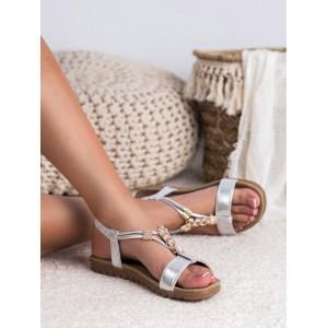 Letné štýlové strieborné sandále s ozdobnou zlatou aplikáciou