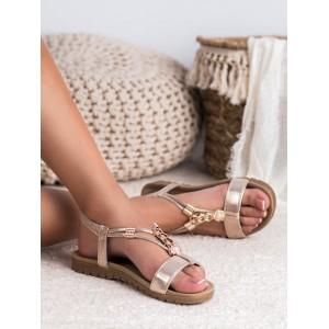 Elegentné dámske zlaté sandále so zlatou ozdobnou aplikáciou