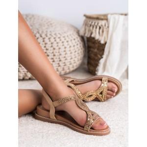Béžovo zlaté dámske sandále s trendy zirkónmi a na platforme