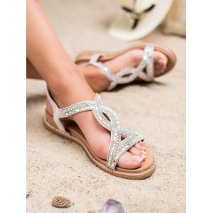 Dámske strieborné sandále so zirkónmi