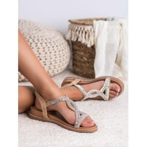 Luxusné dámske nízke béžové sandále s vykamienkovaným ornamentom