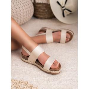 Originálne dámske béžové sandále s pásmi na korkovej podrážke
