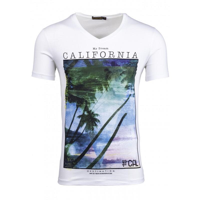 623bb3c29 Predchádzajúci. Pánske biele tričko s potlačou California ...