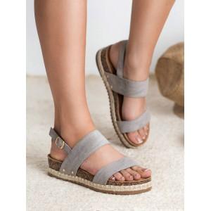 Dámske šedé sandále na korkovej podrážke s pletencom