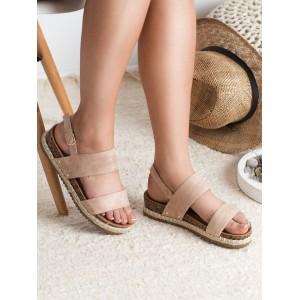 Trendy púdrovo ružové sandále s designom širokých pásov a s pletencom