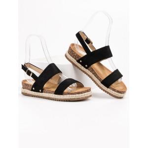 Pohodlné dámske semišové čierne sandále na korkovej podrážke