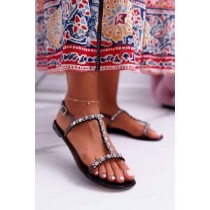 Trblietavé dámske gumené sandále v čiernej farbe s kryštálikmi